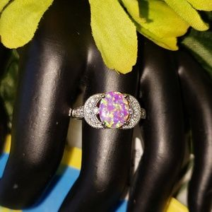 1.78ctw GENUINE PINK OPAL RING IN STERLING SILVER